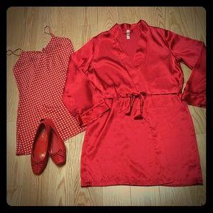Sexy red satiny robe